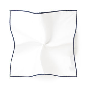 White Blue Pocket square