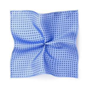 Einstecktuch Mikro-Dessin Azurblau Seide