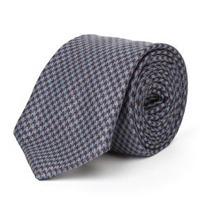 Brown Houndstooth Wool Necktie