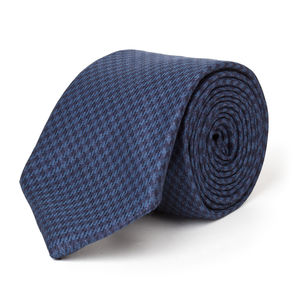 Blue Houndstooth Wool Necktie