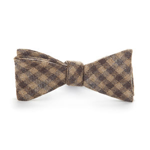 Brown Check Wool Bowtie