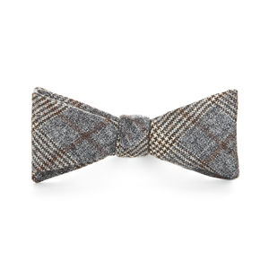 Grey Prince of Wales Wool Bowtie