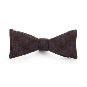 Blue Check Wool Bowtie
