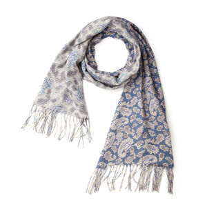 Paisley Blue Wool Scarf