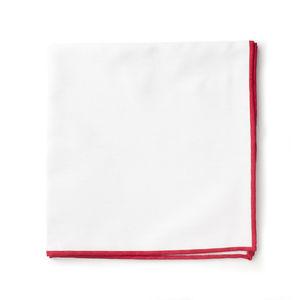 Pocket square White Red