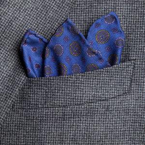 Pocket square Vintage Electric Blue Silk
