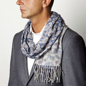 Scarf Paisley Blue Wool