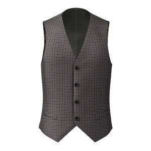 Vest Brown Micro Check Wool