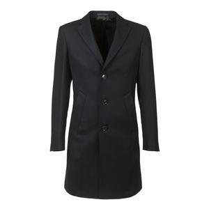 Manteau Oblique Noir Laine