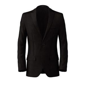 Blazer Black Microdesign Wolle Seide