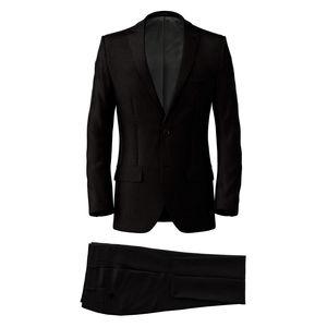 Anzug Black Microdesign Wolle Seide