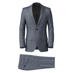 Suit Steel Blue Wool Silk